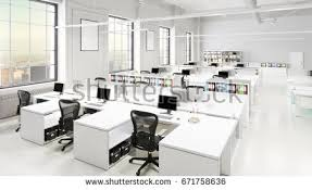 modern office spaces. Modern Office Space With City Background 3D Illustration Spaces