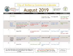 August Calandar August 2019 Calendar Is Here City Of Mulberry
