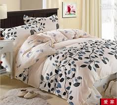 cream blue gray black leaf flower cotton queen size duvet quilt doona cover bedding set sheet duvet cover sets king size designer comforter sets queen from