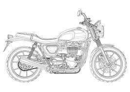 motorcycle vector monochrome black and white sketch coloring book black outline