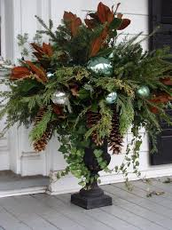 Decorating Front Porch Urns For Christmas