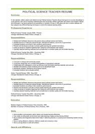 It Teacher Resume Sample Political Science Teacher Resume