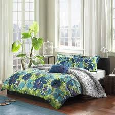 twin xl full queen blue green purple watercolor fl 4pc comforter set bedding