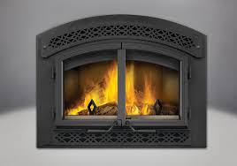 arched faceplate with heritage inset and black cast iron double doors