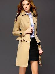 peplum trench coat women s khaki long sleeve on belted spread collar