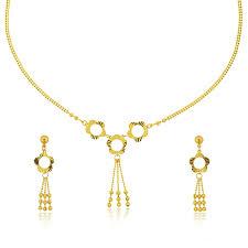 22 k yellow gold flower design necklace set