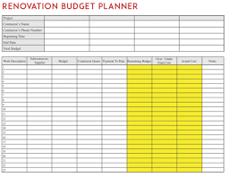 Home Renovation Budget Template Budget Planners
