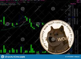 Coin Cryptocurrency Doge On A Background Financial Chart