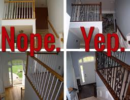 replace stair railing. Iron Baluster Staircase: Before And After Replace Stair Railing I