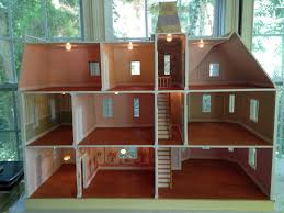 lighting for dollhouses. The Interior Includes Wallpapered Rooms In Shades Of Pink, Green, Blue And Peach. Baseboards, Crown Molding, Working Doors Lighting Each Room. For Dollhouses