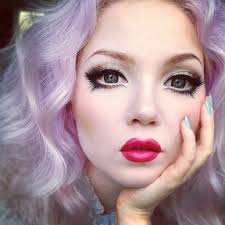 makeup idea doll makeup white liner for larger eyes and faux lashes on the lower lid