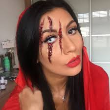 i created a wolf got hold of little red riding hood and blinded her type look this is a great makeup look if you don t want to be that