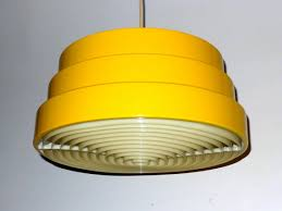 yellow pendant lighting. Bright Yellow Danish Modern Chandelier Stunning Pendant Lamp Has A Enamel Finish On 3 Stepped Metal Shade. Interior Of Shade Is White Lighting U