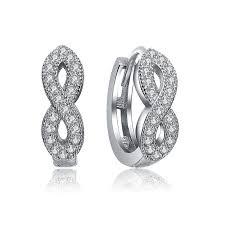 infinity hoop earrings. infinity silver hoop earrings with zirconins