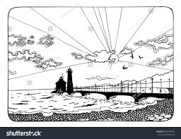 Small Picture Sunset Lighthouse Coloring Page Adults Antistress Stock Vector