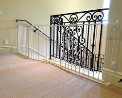 Metal railing stairs Modern Baby Gate For Metal Stair Railing Baby Proofing Staircase Without Rails Using Baby Gate Baby Gate Stairs Metal Railing Baby Gate Metal Stairway Railings Dine On Demand Online Decor Baby Gate For Metal Stair Railing Baby Proofing Staircase Without