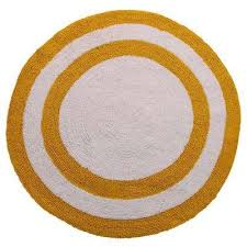 two tone 36 in round cotton reversible yellow white 200 gsf machine washable bath