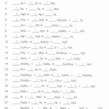 types of chemical reactions worksheet answers inspirational
