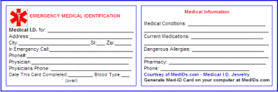 Printable Identification Card Free Printable Medical Id Cards Health And Beauty Free