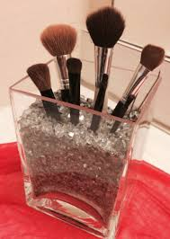 diy make up brush holder ikea rektangel vase and kulort metallic chipped stones