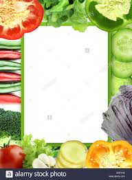 Vegetable Border Design Healthy Organic Vegetables And Fruits On A White Background