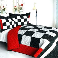 gingham comforter checd flag bedding full queen quilt set black white red bedspread sdway race car
