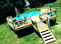 wooden pool deck kits swimming decks for above ground pools kit multi level designs ideas
