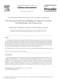 pdf co2 emission calculation and reduction options in ceramic tile manufacture the foshan case