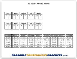10 Team Single Elimination Bracket 10 Team Round Robin Tournament Bracket Erasabletournamentbrackets Com