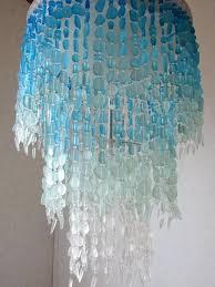 sea glass chandelier lighting fixture flush mount ceiling coastal decor beach crystal anthropologie