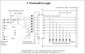 programmable fx switcher amp controls the 74c373 octal latch turns out to be ideal it latches eight bits of data and can be rigged to latch one and only one of them at a time in the circuit