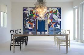 modern dining room wall decor ideas. View In Gallery Wall Art And Chandelier Enliven The Minimal Dining Room Modern Decor Ideas E