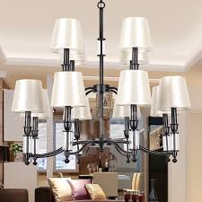 12 light black living room 2 tier large chandelier retro contemporary candle style chandelier