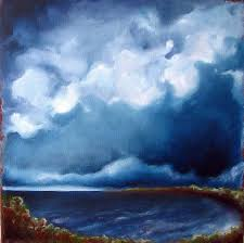 seascape original oil painting nautical home decor art thunderstorm clouds rustic earthy colors thunder cove