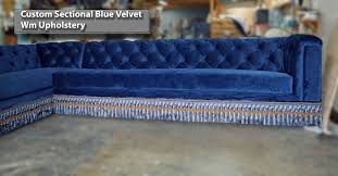 custom velvet sectionals sofa with bullion cmercial upholstery and reupholstery in los angeles california