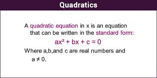 the definite form is ax² bx c 0 where in x is an unknown variable and a b c are numerical coefficients quadratics quadratics equation examples