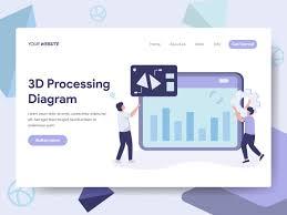 Website Design Diagram Landing Page Template Of 3d Processing Diagram Illustration