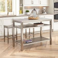 home styles brushed satin stainless steel kitchen island with bar stools