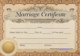 Wedding Certificate Template Awesome 48 Free Marriage Certificate Templates Word PDF Doc Format Samples