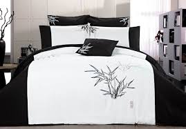 king size bella bamboo quilt cover set 3pcs black and white doona cover