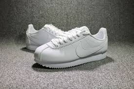 picture of nike classic cortez leather all white running shoes