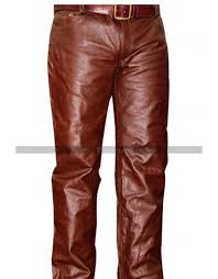 mens brown leather pants