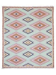 Blue navajo rugs Modern Decorpad Blue And Pink Navajo Geometric Rug