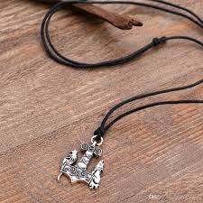 whole fishhook shone norse odin thors hammer jewelry mjolnir viking wolf and raven pendant ancient birds necklaces with link chain snowflake pendant