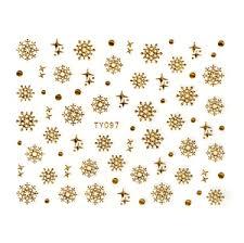 Samolepky Na Nehty 3d Sněhové Vločky Zlaté Ty097