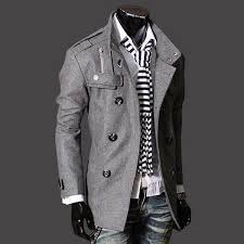 mens wool slim double ted half trench coat