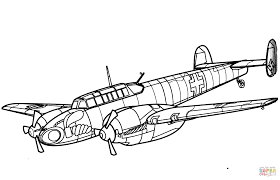 messerschmitt 110 heavy fighter aircraft coloring page free within jet