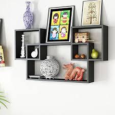 office hanging shelves. Decorative Wooden Floating Wall Shelf For Home, Kitchen \u0026 Office Decor Set Of 3 Interlock Storage Unit Hanging Shelves Antique Display Rack | Black A