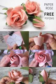 Diy Paper Flower Tutorials Easy Tutorial To Make A Paper Rose Free Template Paper