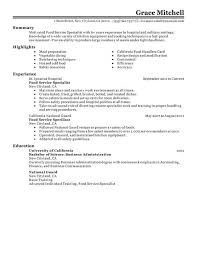 Food Service Specialist Resume Examples Createdpros With Regard To